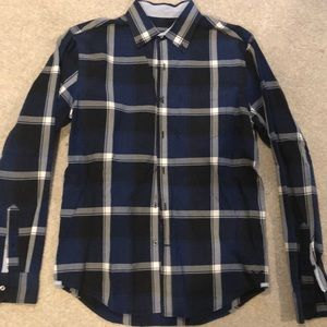 American Eagle Men's navy plaid shirt
